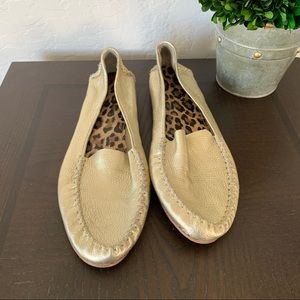 Marc Fisher Gold Leather Flats Loafers 8.5